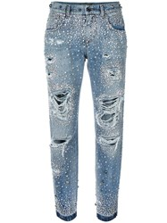 Dolce And Gabbana Rhinestone Ripped Boyfriend Jeans Blue