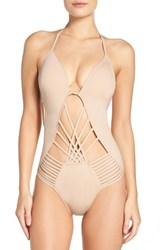 Kenneth Cole Women's New York Push Up One Piece Swimsuit Sand