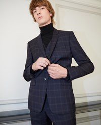 The Kooples Formal Blue Wool Jacket With Grey Check Motif