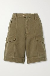 Citizens Of Humanity Lily Cotton And Linen Blend Twill Shorts Army Green