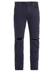 Neuw Ray Distressed Tapered Leg Jeans Navy