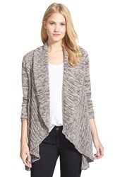Petite Women's Nic Zoe 'Coral Room' Open Front Cardigan Silver Cloud