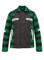 Craig Green Shell Trimmed Checked Cotton Blend Jacket Green