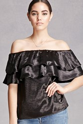 Forever 21 Satin Layered Flounce Tube Top