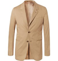 Caruso Sand Slim Fit Stretch Cotton Twill Suit Jacket