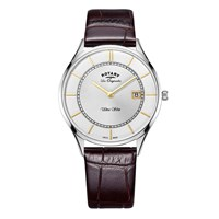 Rotary Gs90800 02 Men's Les Originales Ultra Slim Date Leather Strap Watch Brown Silver