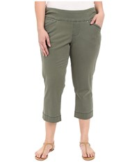 Jag Jeans Plus Size Marion Crop In Bay Twill Jungle Palm Women's Casual Pants Olive