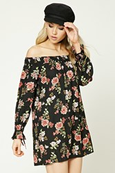 Forever 21 Floral Off The Shoulder Dress Black Coral
