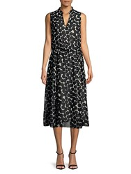 Jones New York Printed Fit And Flare Midi Dress Black