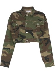 Re Done Cropped Camouflage Cotton Blend Jacket Green