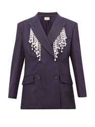 Christopher Kane Faux Pearl Fringed Double Breasted Wool Blazer Navy