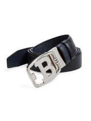 Bally Signature Logo Buckle Calf Leather Belt Black