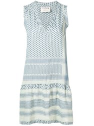 Cecilie Copenhagen V Neck Printed Shift Dress Blue
