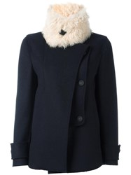 Cedric Charlier Removable Shearling Collar Jacket Black