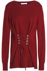 Sandro Robine Lace Up Wool And Cashmere Blend Sweater Claret