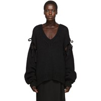 Ann Demeulemeester Black Knitted V Neck Sweater