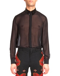 Givenchy Sequin Collar Sheer Poplin Shirt Black