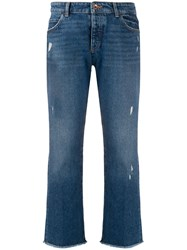 Emporio Armani Distressed Cropped Jeans Blue