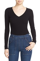 Autumn Cashmere Women's Ribbed Cutout Sleeve V Neck Top