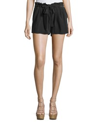 Ramy Brook Albert Pleated Drawstring Shorts Black