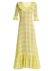 The Vampire's Wife Gloria Ruffle Trimmed Checked Gauze Maxi Dress Yellow Print