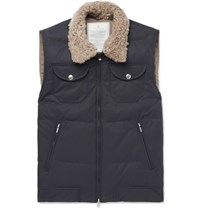 Brunello Cucinelli Shearling Trimmed Quilted Cotton Blend Gilet Navy