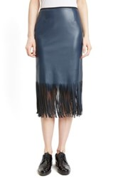 Cedric Charlier Fringe Faux Leather Pencil Skirt Blue