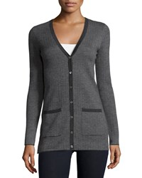 Michael Kors Cashmere Herringbone Cardigan Charcoal Grey