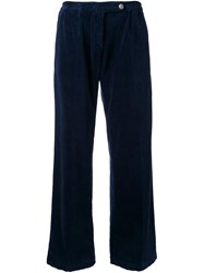 Massimo Alba Wide Leg Velvet Trousers Blue