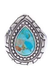 Savvy Cie Rhodium Plated Sterling Silver Pear Cut Reconstructed Turquoise Carved Ring Blue