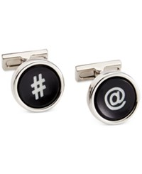 Kenneth Cole New York Polished Rhodium Cufflinks With Black Resin Inserts Black Whit