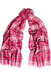 Tomas Maier Plaid Cashmere And Silk Blend Scarf Pink