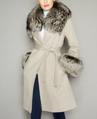 The Fur Vault Fox Trim Wool Coat Oatmeal
