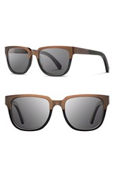 Women's Shwood 'Prescott' 52Mm Titanium And Wood Sunglasses Bronze Titanium Black Grey