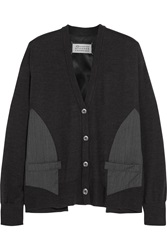Maison Martin Margiela Twill And Satin Paneled Wool Cardigan Gray
