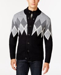 Club Room Marled Diamond Mock Neck Cardigan Only At Macy's Deep Black Marl