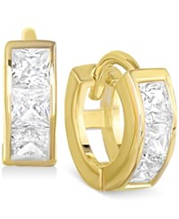 Victoria Townsend Cubic Zirconia Small Hoop Earrings In 18K Gold Over Sterling Silver