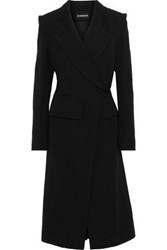 Ann Demeulemeester Woman Double Breasted Wool And Cotton Blend Twill Coat Black