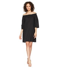 Allen Allen Ruffle Edge Linen Dress Black