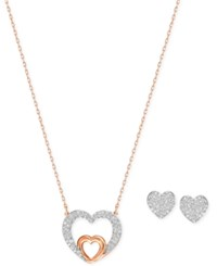 Swarovski Two Tone Crystal Pave Heart Pendant Necklace And Heart Stud Earrings Set