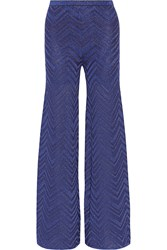 M Missoni Metallic Crochet Knit Wide Leg Pants Blue
