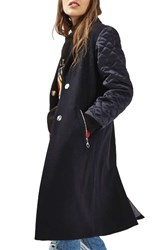 Topshop Women's Quilted Sleeve Wool Blend Coat