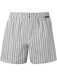 Dolce And Gabbana Striped Swim Shorts White
