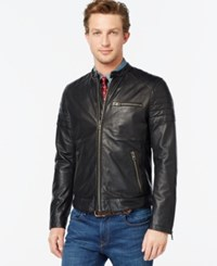 Tommy Hilfiger Quilted Leather Moto Jacket Black
