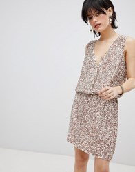 Deby Debo Horus Sequin Embellished Dress Off White Pink