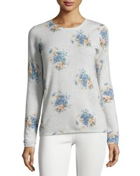 Joie Feronia Cashmere Floral Print Sweater Gray Gray Pattern