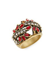 Heidi Daus Debut Elegance Swarovski Crystal Ring Gold Red