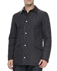 Salvatore Ferragamo Diamond Quilt Barn Coat Black