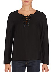 Kensie Rayn Woven Lace Front Top Black