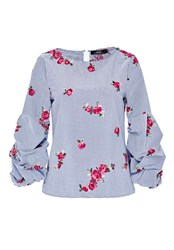 Hallhuber Embroidered Blouse With Ruffle Sleeves Multi Coloured Multi Coloured
